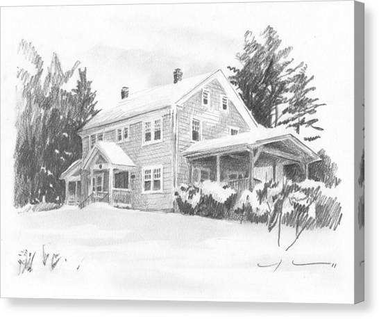 Winter House Pencil Portrait Canvas Print by Mike Theuer