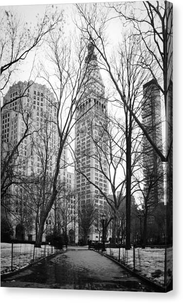 Snow Melt Canvas Print - Winter In Madison Square Park - New York City by Erin Cadigan