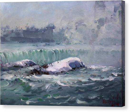 Horseshoe Falls Canvas Print - Winter In Niagara Waterfalls by Ylli Haruni
