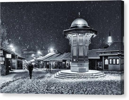 Fountain Canvas Print - Winter In Sarajevo by Bez Dan