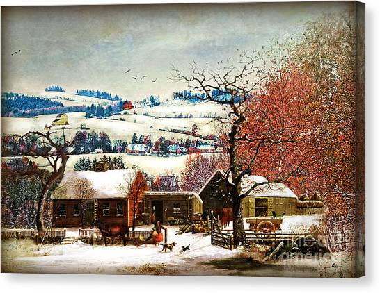 Folk Art Canvas Print - Winter In The Country Folk Art by Lianne Schneider