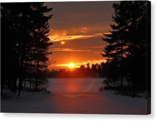 Winter Lake Sunset Canvas Print by RJ Martens