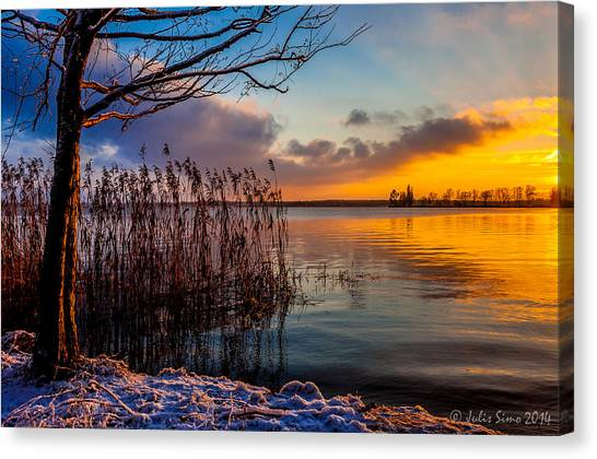Winter Lake Sunset With A Tree Lighted In Red And Orange  Canvas Print