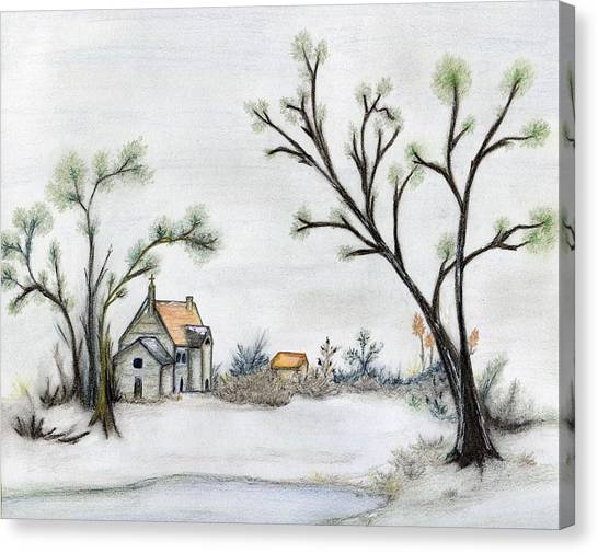Winter Landscape With Cottage Canvas Print by Christine Corretti