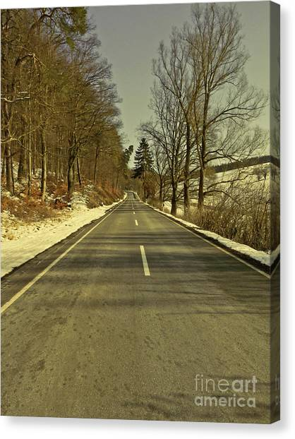 Winter-landscape With Country Road Canvas Print