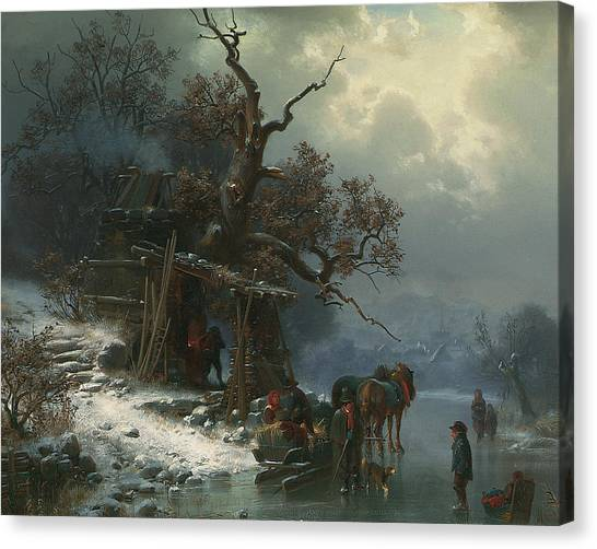 Figure Skating Canvas Print - Winter Landscape With Figures On A Frozen River by Heinrich Hofer