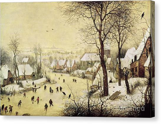 Ice Skating Canvas Print - Winter Landscape With Skaters And A Bird Trap by Pieter Bruegel the Elder