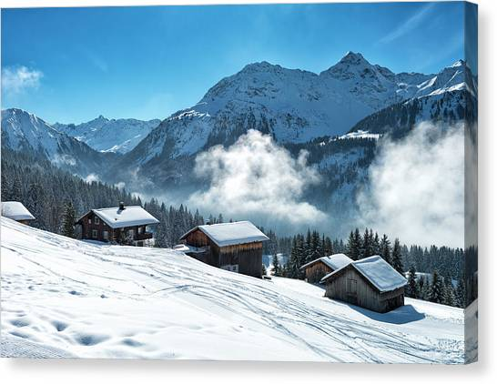Winter Landscape With Ski Lodge In Canvas Print by Kemter