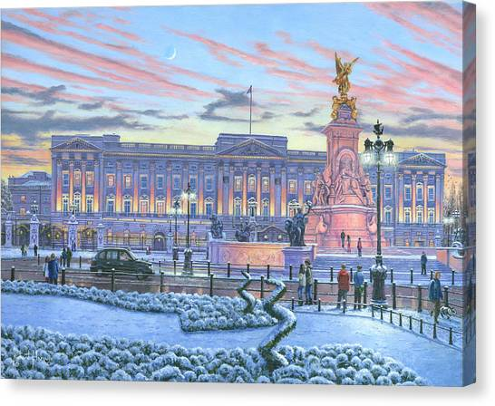 Queen Elizabeth Canvas Print - Winter Lights Buckingham Palace by Richard Harpum
