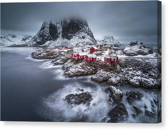 Ocean Cliffs Canvas Print - Winter Lofoten Islands by Andy Chan