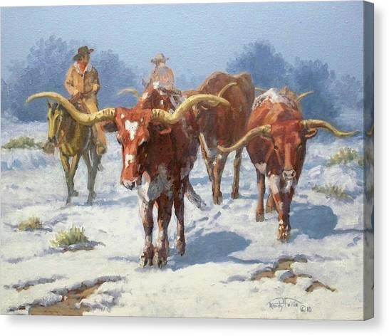 Texas A And M Canvas Print - Winter Longhorns by Randy Follis