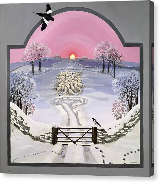 Magpies Canvas Print - Winter by Maggie Rowe