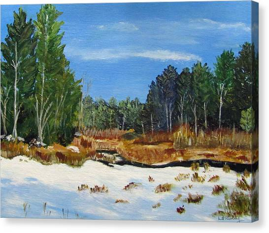 Winter Marsh In Hooksett Canvas Print