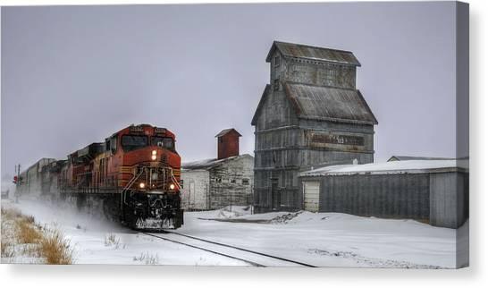 Winter Mixed Freight Through Castle Rock Canvas Print
