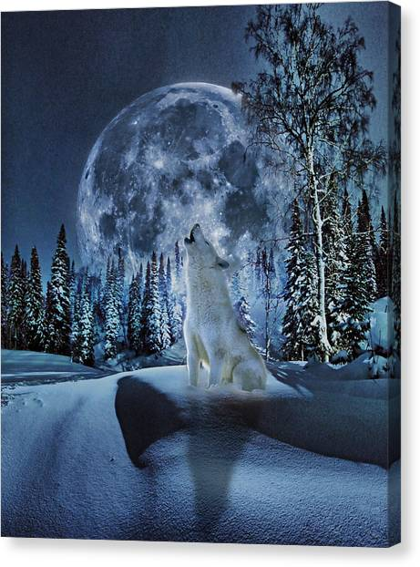 Wolf Moon Canvas Print - Winter Moon Song by Yury Malkov