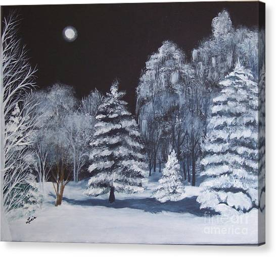 Winter Moonlight In The Country Canvas Print