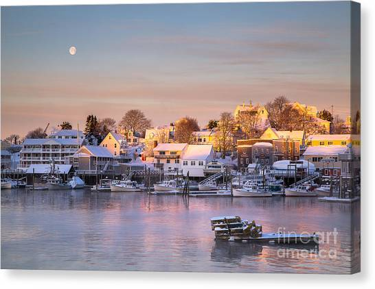 Winter Morning In Boothbay Harbor Canvas Print