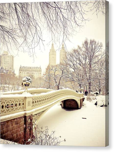 New York Skyline Canvas Print - Winter - New York City - Central Park by Vivienne Gucwa
