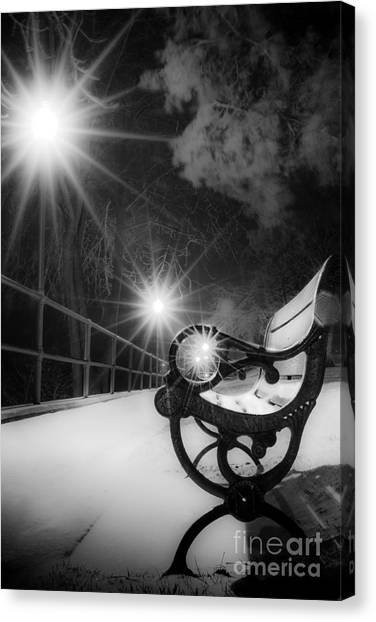 Winter Night Along The River Canvas Print
