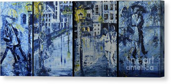 Winter Night In The City Canvas Print by Roni Ruth Palmer