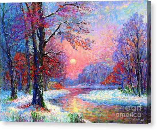 Japanese Gardens Canvas Print - Winter Nightfall, Snow Scene  by Jane Small
