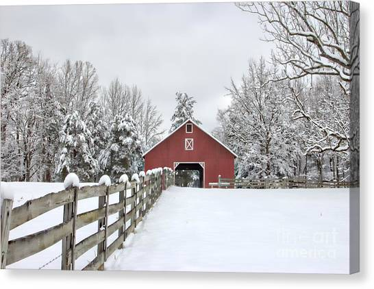 Red Barn In Winter Canvas Print - Winter On The Farm by Benanne Stiens