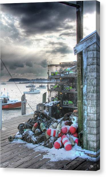 Winter On The Lobster Wharf Canvas Print