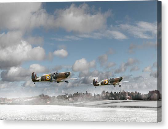 Winter Ops Spitfires Canvas Print
