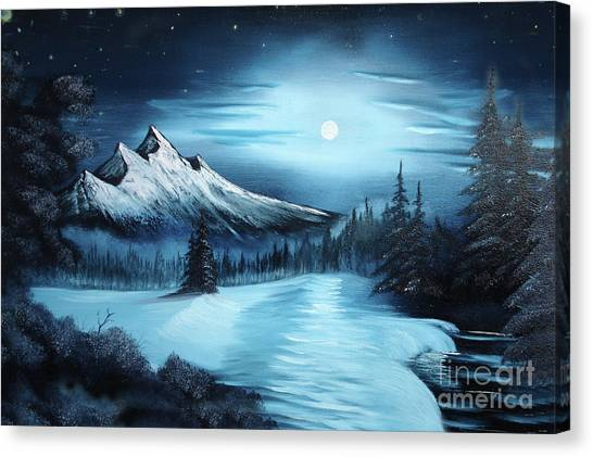 Bob Ross Canvas Print - Winter Painting A La Bob Ross by Bruno Santoro