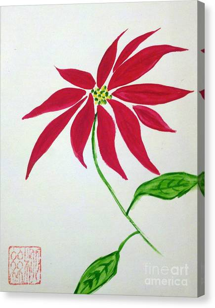 Winter Poinsettia Canvas Print