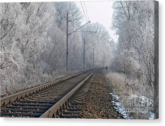 Winter Railroad Canvas Print