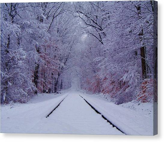 Trains Canvas Print - Winter Rails by Greg Kear