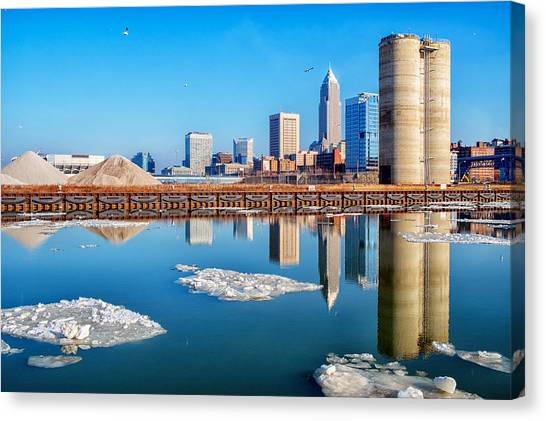 Winter Reflections Of Cleveland Ohio Canvas Print