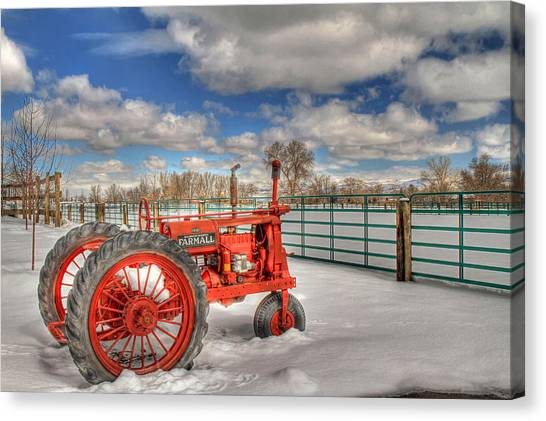 Tractors Canvas Print - Winter Repose by Donna Kennedy