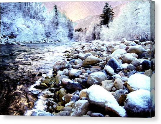 Winter River Canvas Print