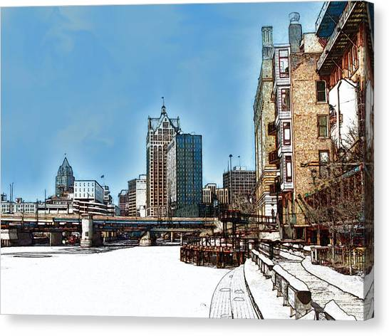 Winter River Walk In Milwaukee Wisconsin Canvas Print by David Blank