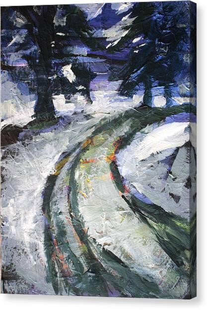 Yukon Canvas Print - Winter Road by Nancy Merkle