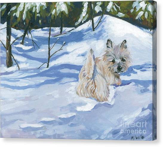 Dogs In Snow Canvas Print - Winter Romp by Molly Poole