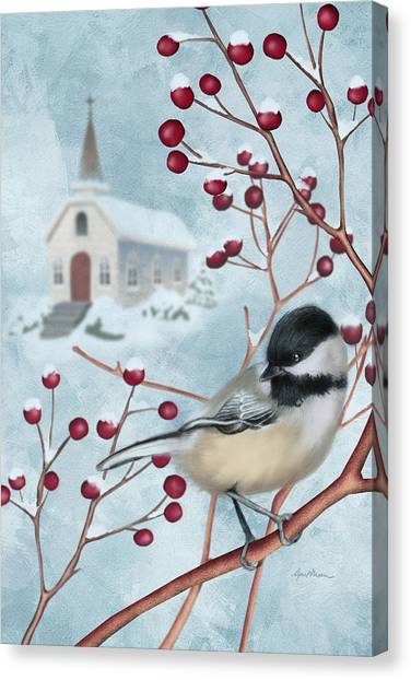 Chickadee Canvas Print - Winter Scene I by April Moen