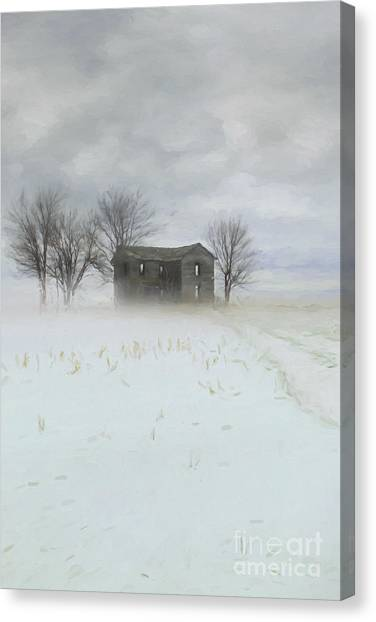 Winter Scene Of A Farmhouse/digital Painting Canvas Print