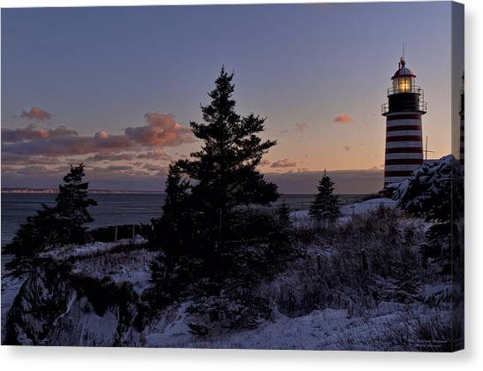 Winter Sentinel Lighthouse Canvas Print