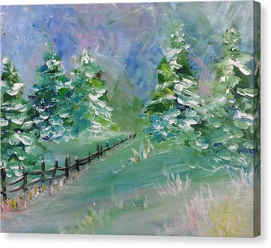 Canvas Print featuring the painting Winter Silence by Lauren Heller