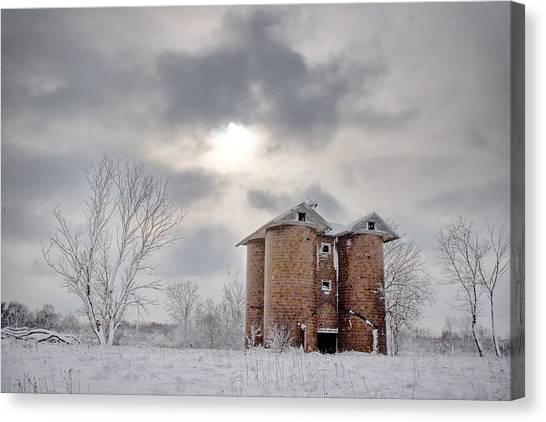 Winter Silo Canvas Print by Karen Varnas