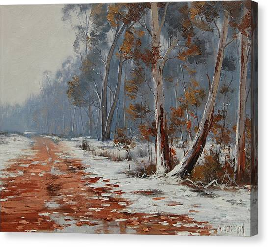 Frosty Canvas Print - Winter Snow Gums  by Graham Gercken