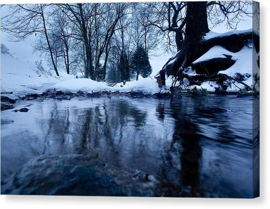 Winter Snow On Stream Canvas Print