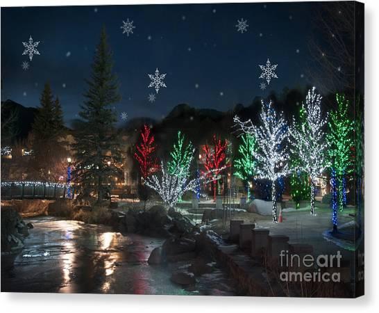 Christmas Lights Canvas Print - Winter Solstice 2014 by Juli Scalzi
