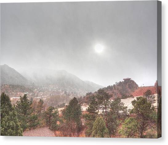 Winter Storm In Summer With Sun Canvas Print