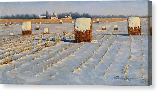 Winter Stubble Bales Canvas Print