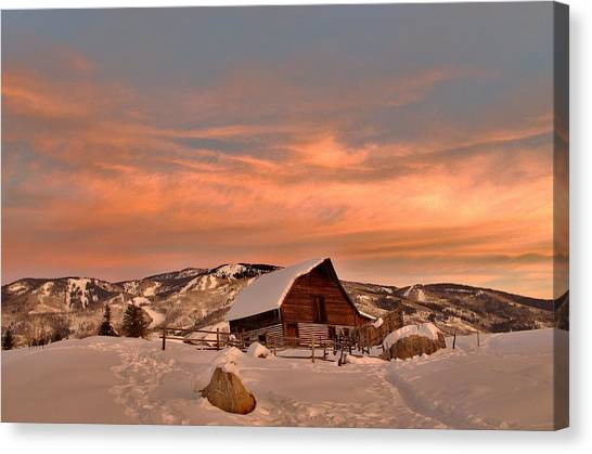 Winter Sundown Canvas Print