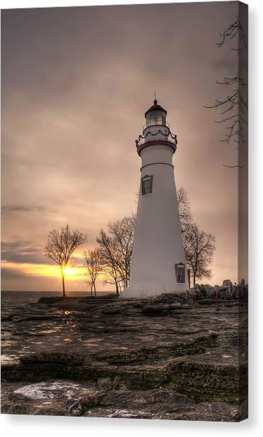 Winter Sunrise At Marblehead Lighthouse - Portrait Canvas Print